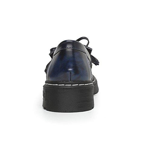 Sneakers Ville Casual Chaussures Mocassins Femme 34 Mode Derbies Bleu JRenok Marcher Plateforme 43 de Confortable Cuir SEYWqcp4