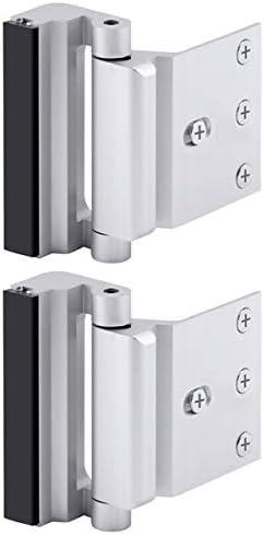Home Security Door Lock, Childproof Door Reinforcement Lock with 3″ Stop Withstand 800 lbs for Inward Swinging Door, Upgrade Night Lock to Defend Your Home (Silver-2 Pack)