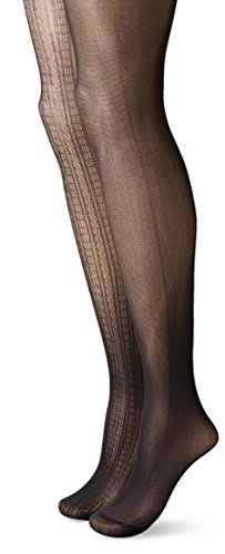 Betsey Johnson Women's Fashion Tights In Raised Cable Texture and Solid Black, Black/Black, Small (Pack of 2)