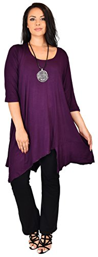 Dare2bStylish Women Plus Size Asymmetrical Long Tunic Shirt Dress Top (3X/4X, Plum)