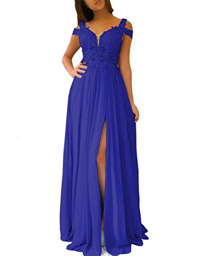 Women's A-line Evening Gowns Cap Sleeves Lace Appliqued Long Formal Party Prom Dresses with Slit (Royal Blue, 14)
