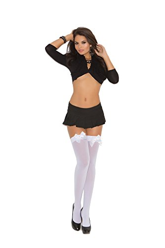 Bows Thigh High Tights - Plus Size Women's Satin Bow Opaque Thigh High Stockings