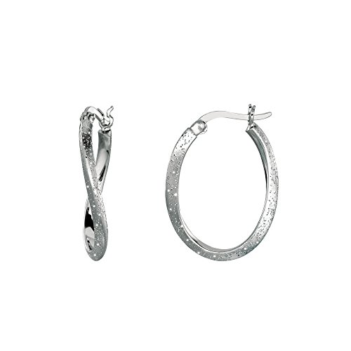 Sterling Silver Rhodium Plated With Brushed Diamond Dust Finish Wavy Oval Hoop Earrings