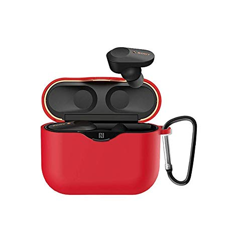 Silicone Carrying Case Cover for Sony WF-1000XM3 Industry Leading Noise Canceling Truly Wireless Earbuds by Kaladior (Red)