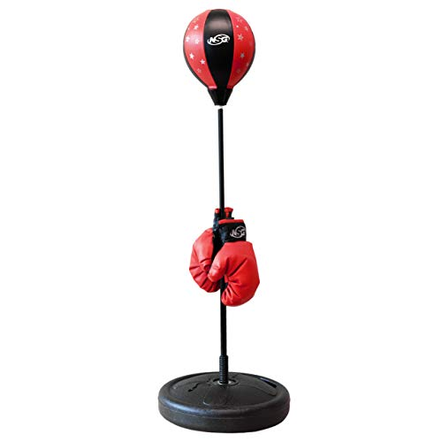 NSG Jr Training Boxing Set for Kids - Bounce Back Punching Ball, Adjustable Stand, Pump, & Boxing Gloves for Boys and Girls, Red/Black
