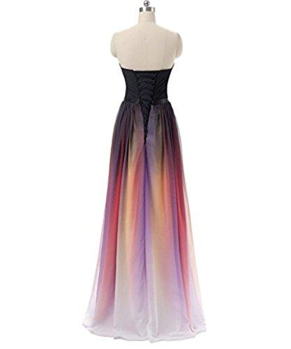Mousseline De Soie De Gradient Dkbridal Longues Robes De Soirée De Demoiselle D'honneur Rose