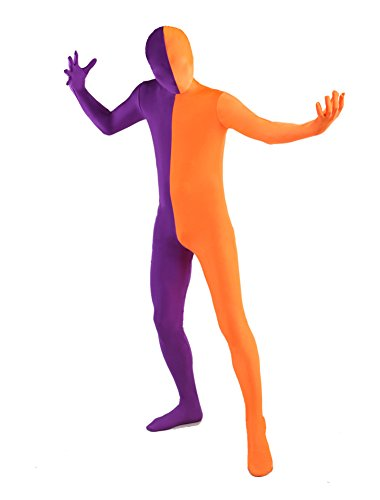 [Honeystore Unisex's Spandex Full Bodysuit Zentai Suit Halloween Costume Purple and Orange L] (Unisex Halloween Costumes)