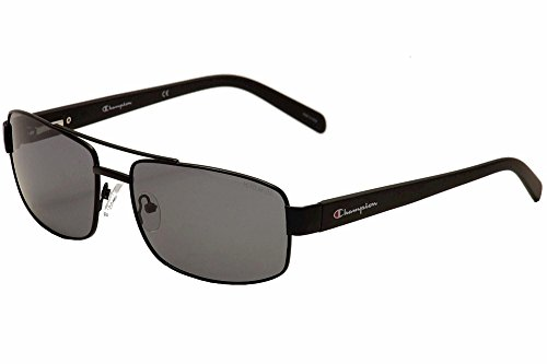 Champion Men's Matte Black metal alloy Rectangular Sunglasses - Champion Polarized Sunglasses