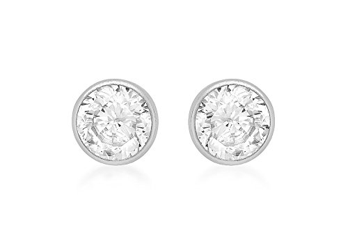 Or blanc 9 carats 4 mm ronde Diamant Boucles d'oreilles clous tore