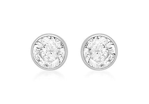Or blanc 9carats 4mm ronde Diamant Boucles d'oreilles clous tore