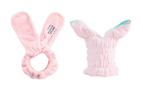 Girl's Cute Pink Rabbit Ear Hairbands + Pink Adult Hair Drying Caps Sets 2 Packs by Gentle Meow