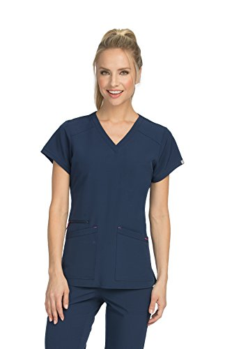 Med Couture Air Scrub Top Women, V-Neck, New Navy/Tango Pink, XXX-Large ()