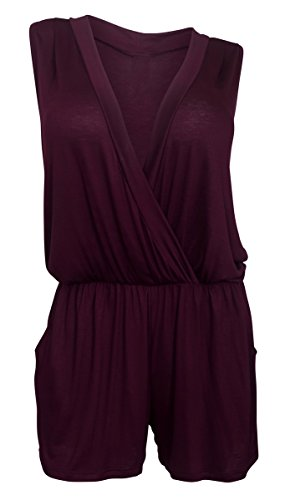 EVogues Plus size Deep V-Neck Sleeveless Romper Wine - 2X