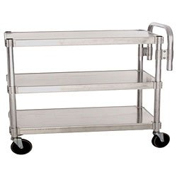 """PVIFS AUC2448 Utility Cart with 2 Adjustable Solid Shelves and Handle, 400 lbs Shelf Capacity, 48"""" Length x 24 Width x 36"""" Height"""