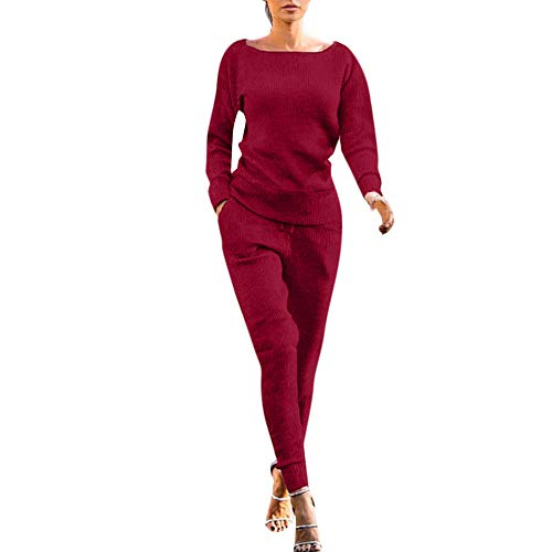 Dreamyth-Winter 2Pcs Women Solid Tracksuit Sweatshirt Regular Sleeve Long Pants Sport Lounge Wear Suit Sets (Wine Red, S:Bust:98cm/38.6