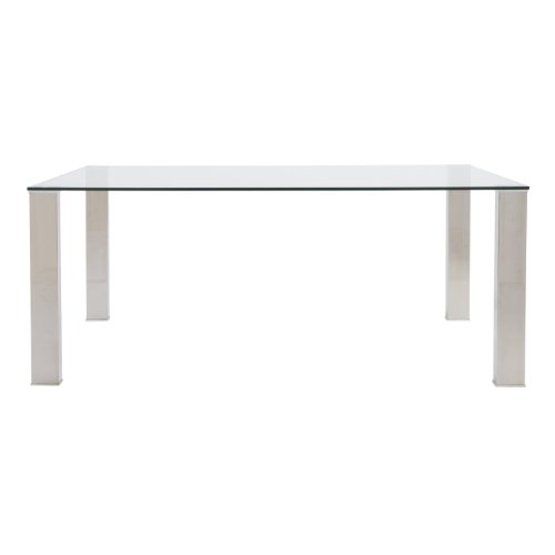 Eurø Style Beth Clear Glass Top Polished Stainless Steel Dining Table (Euro Style Glass Desk)