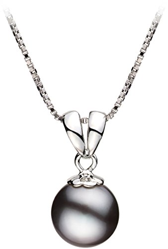 [PearlsOnly - Sally Black 9-10mm Freshwater 925 Sterling Silver Cultured Pearl Pendant] (Easy Sally Costumes)