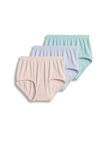 Jockey Women's Underwear Comfies Cotton Brief - 3 Pack, Soft Periwinkle, 8