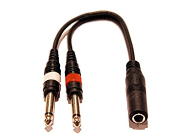 "9in 1/4"" 1/4 Inch Stereo TRS Female to 2 X 1/4 Inch Male Mono Y Splitter Cable from Keen Eye Inc."