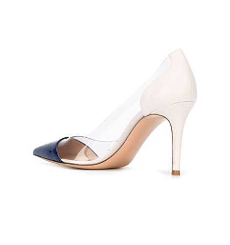 Tallone 8 Womens Pointed Wedding Sposa Cap 8cm Trasparenti Stilettos Heel Puntale Transparent Toe High Stiletti Womens Blue Centimetri Eldof Pvc Pumps Eldof Scarpe Shoes Da Blu Rilevare Alto Pvc wH8PFY