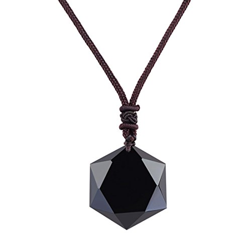 sidian Natural Stone Pendant with Adjustable Necklace (Black Obsidian Pendant)