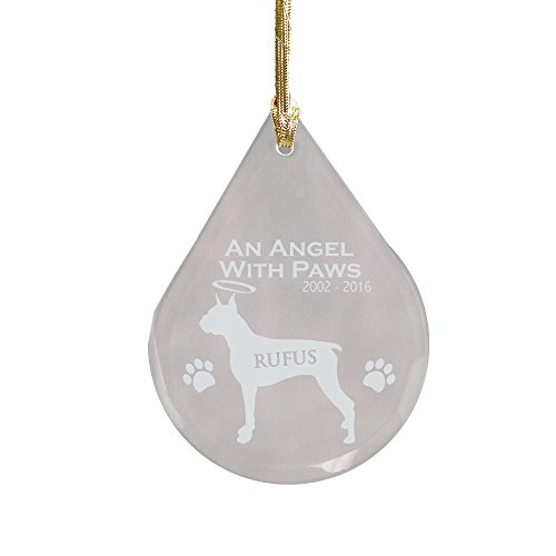 GiftsForYouNow Boxer Dog Memorial Tear Drop Personalized Ornament, Glass