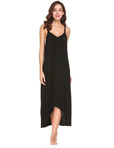 Modfine Vestido de Noche Sólido del Dobladillo Irregular del Dobladillo de la Correa de Espagueti de Las Mujeres Negro