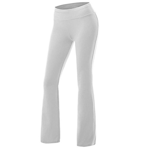 Women's Solid Cotton Spandex Boot Cut High Waisted Flare Yoga Pants Workout Casual Trousers Comfortable Flared Leggings White M