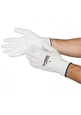 Task Gloves (1 Dz) White Palm Coated Polyurethane Seamless 13-Gauge Poly Work Gloves - S-XL
