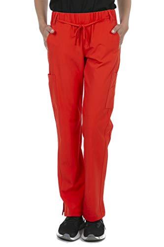 (8072 Women's Modern Fit Uniform Scrubs Medical Cargo Scrub Pants RED S)