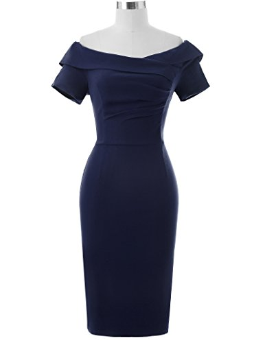 Vintage Dresses for Women Cocktail Short Sleeve Size USA2 Navy Blue BP159-3 - Vintage Pencil Dress