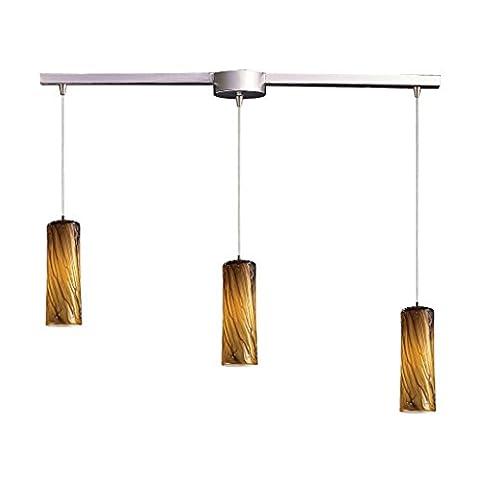 Alumbrada Collection Maple 3 Light Pendant In Satin Nickel And Maple Amber Glass - Maple Three Pendant Light