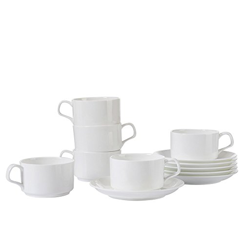 Porlien Coffee Cups and Saucers, White Porcelain Teacups and Saucer sets, 7-Ounce, Set of 6 (Tea Stackable Set)