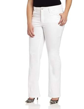 NYDJ Women's Plus-Size Hayden Straight Leg Jeans, Optic White, 14W