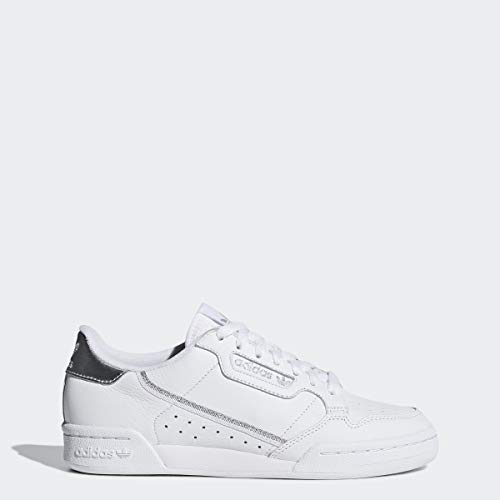 adidas Originals Women's Continental 80 Sneaker, White/Silver, 8 Medium US (Sneaker Fashion)