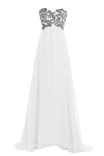 Toskana novia Chic Corazón Forma gasa Vestidos de novia Vestidos de noche largo Fiesta en Ball blanco