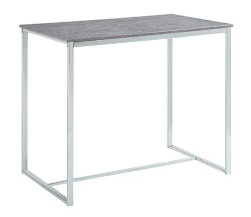 Abington Lane – Elegant Dining Room Table (Chrome – Heathered Grey Finish, 1-Piece Table)