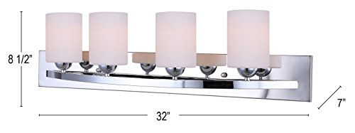 Canarm LTD IVL370A04CH-O Hampton 4 Light Vanity, Chrome with Flat Opal Glass
