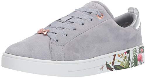 (Ted Baker Women's ROULLY Sneaker, Slate Grey/Pistachio Suede, 7 M US)