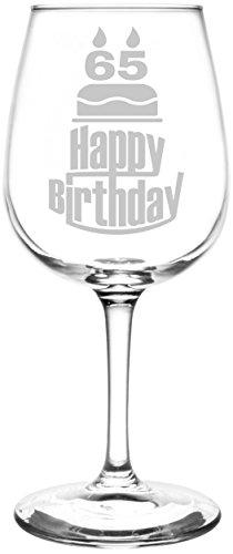 (65th) Three Tier Happy Birthday Cake Inspired - Laser Engraved 12.75oz Libbey All-Purpose Wine Taster (Cute Halloween Cakes Birthday)