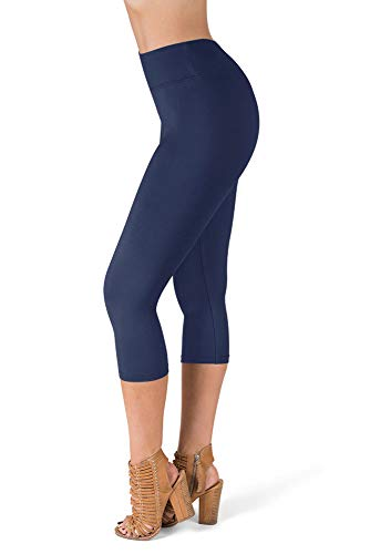 SATINA High Waisted Super Soft Capri Leggings - 20 Colors - Reg & Plus Size (One Size, Navy) ()