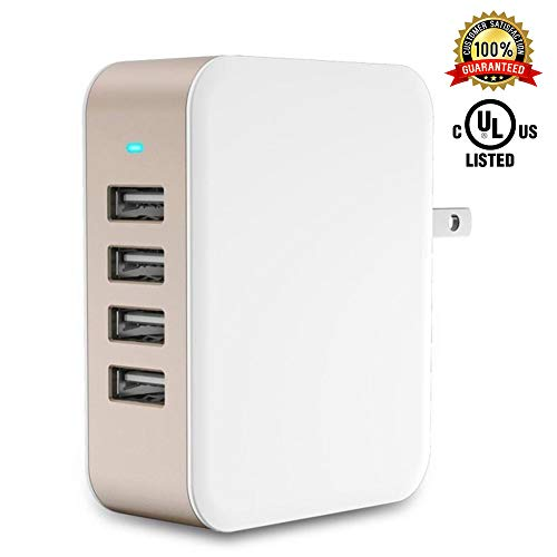 USB Wall Charger Power Adapter 4-Port USB 24W Travel Charger Adapter with Foldable Plug Multi Device Smart Charging-Compatible with iPhone, iPad, Samsung, Galaxy (Gold)