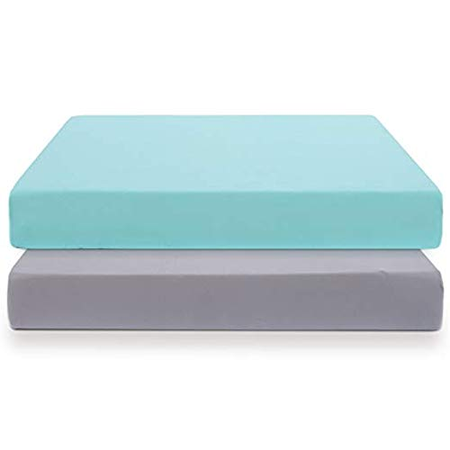 COSMOPLUS Knitted Crib Sheet Set -2 Pack Stretchy Crib Sheets for Boys Girls, Universal Knit Fitted for Standard Baby Toddler Crib Mattress, Gray/Teal