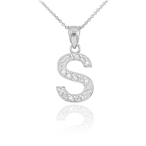 14k White Gold Diamond-Studded Initial Letter S Pendant Necklace, ()