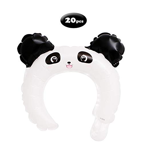 Pack of 20 Cartoon Animal Headband Balloons for Kids Theme Birthday Party Decorations,Panda
