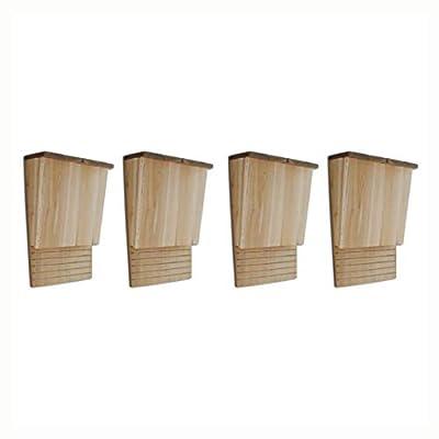 """K&A Company Bat House, Bat Houses 4 pcs 8.7""""x4.7""""x13.4"""" Wood"""