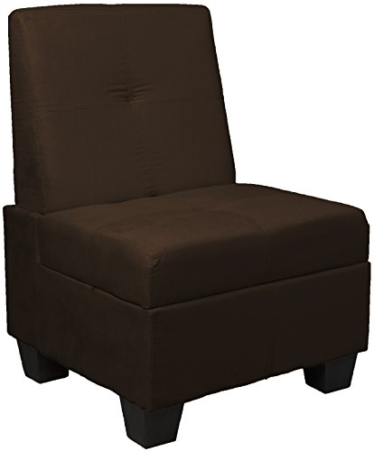 Chocolate Bench Upholstered - Butler Microfiber Upholstered Tufted Padded Hinged Storage Ottoman Bench, 24-inch-size, Microfiber Suede Chocolate Brown