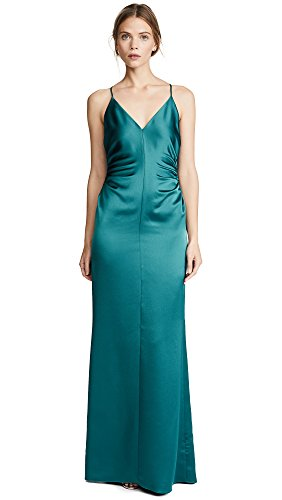 Halston Heritage Women's Slip Gown With Side Gathers, Peacock, (Side Gather)