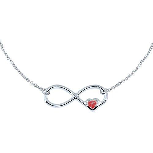 SL de Silver Collar Cadena y colgante Infinito Cristal Corazón 925Plata Regalo del paquete
