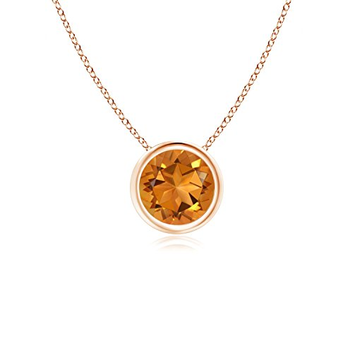 Bezel-Set Round Citrine Solitaire Pendant in 14K Rose Gold (6mm Citrine) -